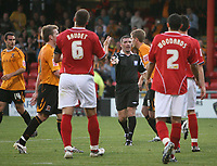 Photo: Rich Eaton.<br /> <br /> Crewe Alexandra v Hull City. Carling Cup. 15/08/2007. referee Mr Miller gives a first half penalty to Hull after Tim Pope of Crewe handles the ball.