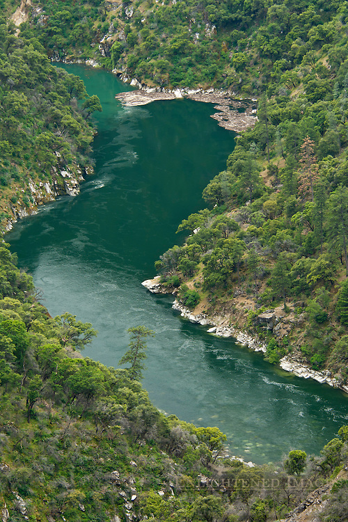 Forested canyon and back arm of Lake Oroville, Feather Falls Scenic Area, Plumas National Forest, Butte County, California