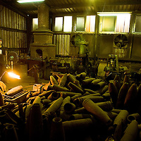 Master Chin Ho, use old missiles to make knifes, in  Kinmen , Taiwan, on Monday May 18,2009/ Photographer: Bernardo De Niz/