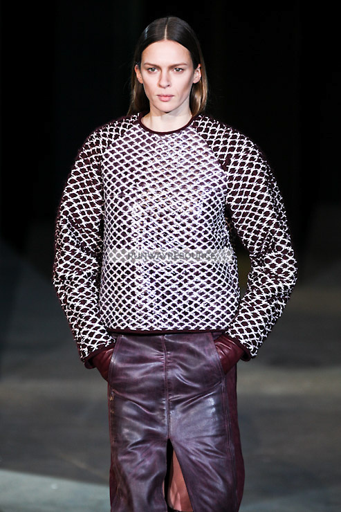 Kati Nescher walks down runway for F2012 Alexander Wang's collection in Mercedes Benz fashion week in New York on Feb 12, 2012 NYC