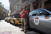 A spanish partecipant  of the Cavalcade 2018 is seen in the streets of Saint Vincent.The Ferrari Cavalcade is an event reserved for the best customers of the Maranello factory. In this 7th edition, the Mont Blanc was chosen. 110 Ferrari, coming from 30 different countries, have covered more than 1000 km between Italy, France and Switzerland.