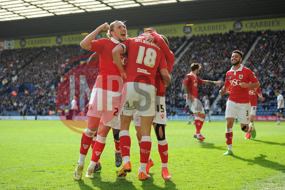 Bristol City's Aaron Wilbraham celebrates with his team mates after scoring. - Photo mandatory by-line: Dougie Allward/JMP - Mobile: 07966 386802 - 11/04/2015 - SPORT - Football - Preston - Deepdale - Preston North End v Bristol City - Sky Bet League One