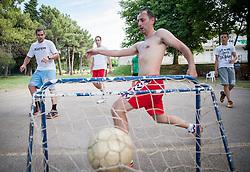 "Coaches playing football during Handball Summer Camp named ""Rokometni tabor Urosa Zormana 2013"" on June 29, 2013 in Savudrija, Croatia. (Photo by Vid Ponikvar / Sportida.com)"