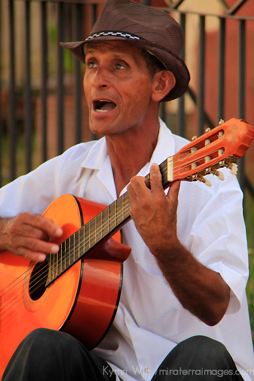 Central America, Cuba, Trinidad. Guitar Player in Trinidad.