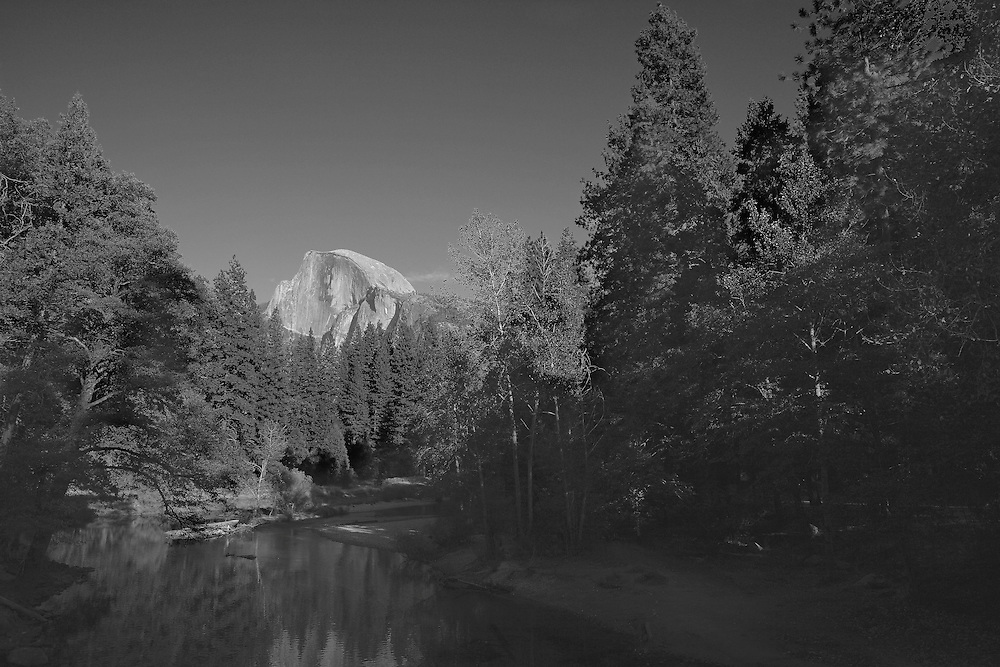 Half Dome And Merced River - Merced River Bridge View - Yosemite - Black & White