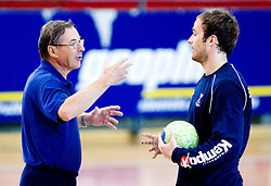 Head coach Miro Pozun and Uros Zorman at practice of Slovenian Handball Men National Team, on June 4, 2009, in Arena Kodeljevo, Ljubljana, Slovenia. (Photo by Vid Ponikvar / Sportida)