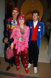 Left to right, ANDREW LOGAN, ZANDRA RHODES and DUGGIE FIELDS at an exhibition of David Hockney portraits at the National Portrait Gallery sponsored by Burberry on 11th October 2006.<br /><br />NON EXCLUSIVE - WORLD RIGHTS