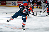 KELOWNA, CANADA -FEBRUARY 1: Joe Kornelsen C #10 of the Kamloops Blazers takes a shot during warm up against the Kelowna Rockets on February 1, 2014 at Prospera Place in Kelowna, British Columbia, Canada.   (Photo by Marissa Baecker/Getty Images)  *** Local Caption *** Joe Kornelsen;