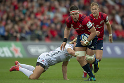 October 20, 2018 - Limerick, Ireland - Billy Holland of Munster tackled by Billy Tweelvetrees of Gloucester during the Heineken Champions Cup match between Munster Rugby and Gloucester Rugby at Thomond Park in Limerick, Ireland on October 20, 2018  (Credit Image: © Andrew Surma/NurPhoto via ZUMA Press)