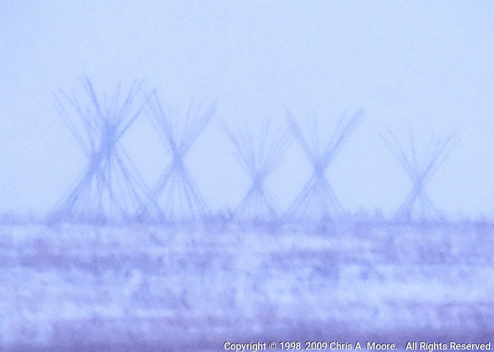 Ghostly Tipi Poles appear through a winter snow storm near Logan, Montana. January 1998
