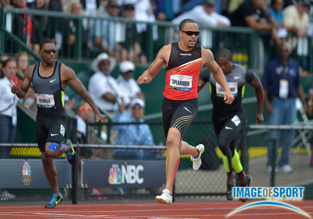 Jul 1, 2012; Eugene, OR, USA; Wallace Spearmon wins the 200m in a wind-aided 19.82 during the 2012 U.S. Olympic Team Trials at Hayward Field.