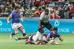 March 9, 2019 - Vancouver, BC, U.S. - VANCOUVER, BC - MARCH 09: Action during Game #22- Samoa 7s vs Fiji 7s in Pool B match-up at the Canada Sevens held March 9-10, 2019 at BC Place Stadium in Vancouver, BC, Canada. (Photo by Allan Hamilton/Icon Sportswire) (Credit Image: © Allan Hamilton/Icon SMI via ZUMA Press)