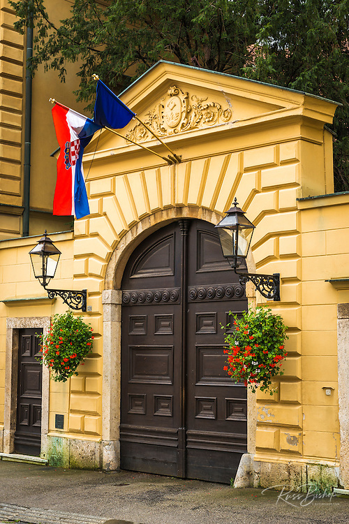 Street lamps and gate in old town Gradec, Zagreb, Croatia