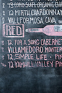 The chalkboard wall menu at Silo restaurant and bar in Carbondale, Colorado.