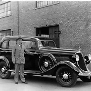 Mr. W.R. Bennett of Winchester, Kentucky, poses with his new 1934 Studebaker.  This was Mr. Bennett's eighth consecutive Studebaker purchase.  It was purchased at the Arcade Motor Company of Winchester, Kentucky.