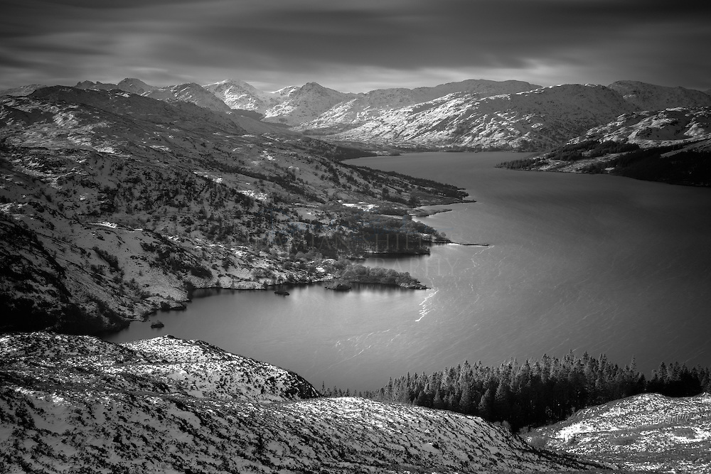 A mono take looking down the Loch from the hills to the west of Ben Aan, one of the loveliest viewpoint rewards for a relatively easy climb.