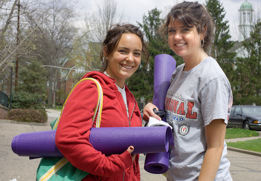 Kirsten Allen (left) and Erin Hennelly make their way across campus Friday, 4/27/07, after a yoga class.