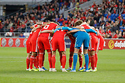Wales players during the UEFA European 2020 Qualifier match between Wales and Azerbaijan at the Cardiff City Stadium, Cardiff, Wales on 6 September 2019.