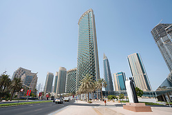 View of apartment buildings on Boulevard road at Downtown Dubai, UAE