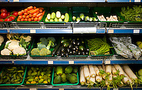 Various fresh vegetables in supermarket