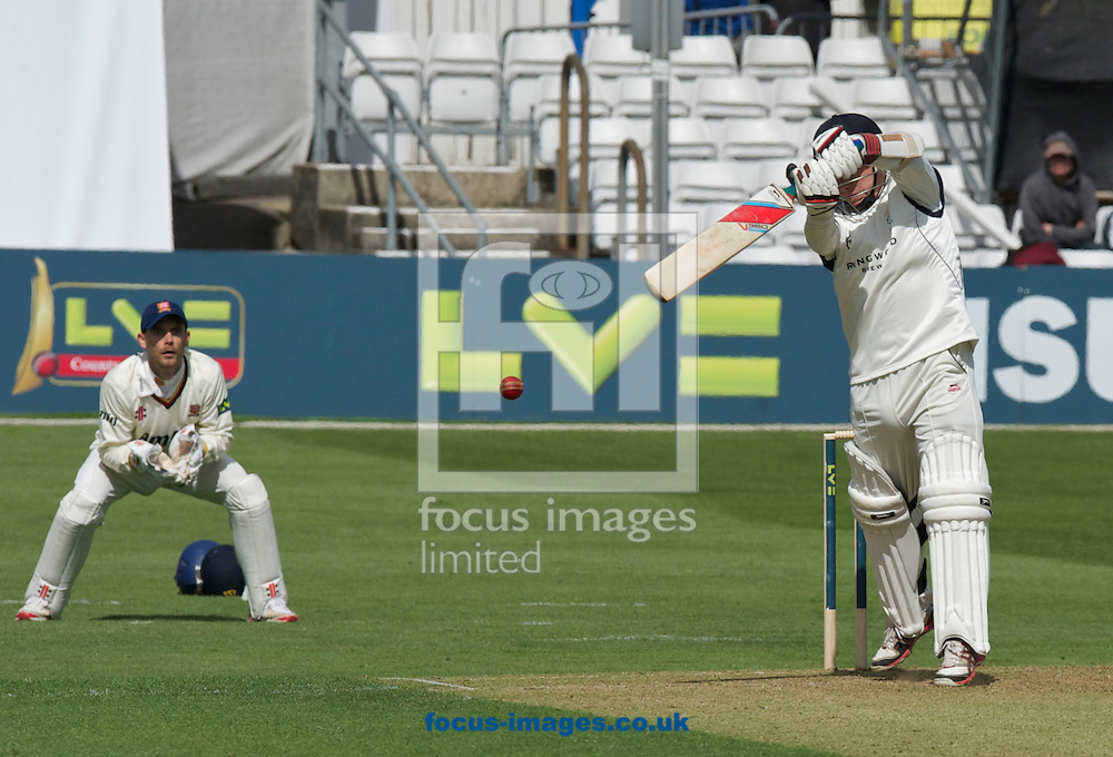 Picture by Alan Stanford/Focus Images Ltd +44 7915 056117.29/04/2013. Adam Wheater of Hampshire County Cricket Club his his last shot after being caught by Graham Napier of Esses county cricket club during the LV County Championship Div Two match at the County Ground, Chelmsford, Chelmsford..