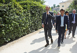 French Minister for the Ecological and Inclusive Transition Nicolas Hulot speaks with French Prime Minister Edouard Philippe and French Labour Minister Muriel Pénicaud as they arrive to attend a biodiversity conference at Museum national d'Histoire naturelle in Paris on July 4, 2018. Photo by Eliot Blondet/ABACAPRESS.COM