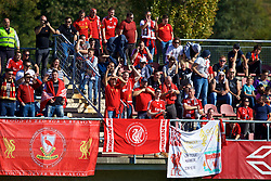 LENDAVA, SLOVENIA - Tuesday, October 17, 2017: Liverpool supporters celebrates the first equalising goal during the UEFA Youth League Group E match between NK Maribor and Liverpool at Športni Park. (Pic by David Rawcliffe/Propaganda)