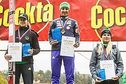 Bogataj Ursa, Maja Vtic, Spela Rogelj during medal ceremony after national competition in Ski Jumping, 8th of October, 2016, Kranj,  Slovenia. Photo by Grega Valancic / Sportida