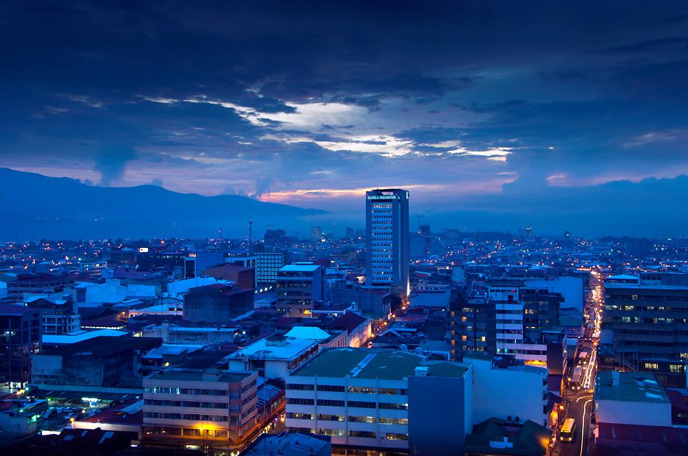 A blue dusk falls over the capital city of San Jose, Costa Rica.