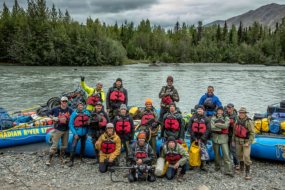 The entire production team along with the athletes are photographed before floating down the Tatshenshini River in the Tatshenshini-Alsek Provincial Park in British Columbia, Canada on August 31, 2016.