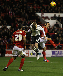 Robert Tesche of Nottingham Forest (R) and Tim Ream of Fulham in action - Mandatory byline: Jack Phillips / JMP - 07966386802 - 5/12/2015 - FOOTBALL - The City Ground - Nottingham, Nottinghamshire - Nottingham Forest v Fulham - Sky Bet Championship