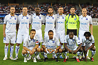 FOOTBALL - CHAMPIONS LEAGUE 2010/2011 - PLAY OFF - 2ND LEG - AJ AUXERRE v ZENIT ST PETERSBURG - 25/08/2010 - PHOTO GUY JEFFROY / DPPI - TEAM AUXERRE (BACK ROW LEFT TO RIGHT : JEAN PASCAL MIGNOT / ANTHONY LE TALLEC / ADAMA COULIBALY / CEDRIC HENGBART / IRENEUSZ JELEN / OLIVIER SORIN / STEPHANE GRICHTING . FRONT ROW : BENOIT PEDRETTI / ROY CONTOUT / DENNIS OLIECH / DELVIN NDINGA)
