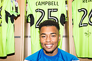 New Forest Green Rovers signing Forest Green Rovers Tahvon Campbell(25) during the EFL Sky Bet League 2 match between Forest Green Rovers and Cambridge United at the New Lawn, Forest Green, United Kingdom on 20 January 2018. Photo by Shane Healey.