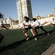 Players of GFA team warming up before the match against Football Club Beirut