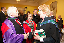 NUI honours President of Ireland, .His Excellency, Dr Michael D. Higgins...Wednesday, 25 January 2012  St. Patricks Hall, Dublin Castle..At a ceremony in Dublin Castle, the Chancellor of the National University of Ireland, Dr Maurice Manning conferred the honorary degree of Doctor of Laws (LLD) on the President of Ireland, His Excellency, Dr Michael D. Higgins. ..Pictured (L-R) Vice-Chancellor of NUI and President of NUI Galway, Dr Jim Browne; President of Ireland, His Excellency, Dr Michael D. Higgins; and Chancellor of NUI, Dr Maurice Manning..In his introductory citation, Dr Jim  Browne, Vice-Chancellor of NUI and President of NUI Galway defined the conferring as honouring an extraordinary man who personifies and combines so many decencies that, taken individually, we perceive to be ordinary..In a phrase used by the late President Cearbhall O Dalaigh to characterise the role of President, Dr Browne said that  As the ninth President of Ireland Michael D. Higgins is, somewhat paradoxically, the primus inter pares or first among equals. .Referring to the Presidents election, Dr Browne said that his radical egalitarianism animated his claim to be elected as Uachtaran na hEireann in 2011. It posited a moral choice not between the state and the market but between two versions of the state. We were invited to reconceive the role of government in a re-imagined state and to engage without shame in an ethically informed public conversation about the choices that this would entail..It was an unapologetic claim that placed ethics before competence in what he prescribed as a real Republic. It challenged the Irish people to accept that adjustment by daring to re-imagine and revive almost-forgotten decencies. Over one million voters rose to that challenge..Dr Browne summarised the Presidents political career in the following terms:  First elected to Dail Eireann in 1981, he represented Galway-West as a T.D. until 2011. Michael D. Higgins has identified, amp