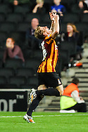Billy Clarke of Bradford City celebrates scoring his team's second goal against Milton Keynes Dons to make it 0-2 during the Sky Bet League 1 match at stadium:mk, Milton Keynes<br /> Picture by David Horn/Focus Images Ltd +44 7545 970036<br /> 16/09/2014