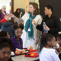 Lindsay Brett, principal at Plantersville Middle School, talks with her Assistant principal, Jerrion Smith during the lunch break at Plantersville Middle. Brett is this years Lee County School District's administrator of the year.