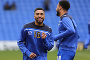 Tareiq Holmes-Dennis of Oldham Athletic and Aaron Amadi-Holloway of Oldham Athletic warm up before the Sky Bet League 1 match between Oldham Athletic and Chesterfield at Boundary Park, Oldham, England on 28 March 2016. Photo by Simon Brady.