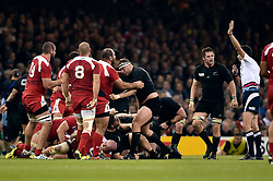 The referee awards Georgia a penalty at a scrum - Mandatory byline: Patrick Khachfe/JMP - 07966 386802 - 02/10/2015 - RUGBY UNION - Millennium Stadium - Cardiff, Wales - New Zealand v Georgia - Rugby World Cup 2015 Pool C.