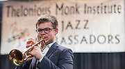 Los Angeles County High School for the Arts Jazz Quartet member Evan Abounassar plays during a program sponsored by the Thelonius Monk Institute at Waltrip High School, February 29, 2016.