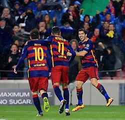 Luis Suarez of Barcelona celebrates after scoring with Neymar and Messi - Mandatory byline: Matt McNulty/JMP - 16/03/2016 - FOOTBALL - Nou Camp - Barcelona,  - FC Barcelona v Arsenal - Champions League - Round of 16