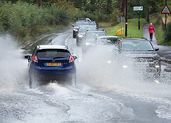 © Licensed to London News Pictures. 01/10/2019. Kenilworth, UK. Midlands flooding. The Ford, Castle road in the centre of Kenilworth has been flooded overnight with more rain forecast for the day. Photo credit: Dave Warren/LNP