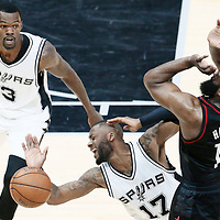01 May 2017: Houston Rockets guard James Harden (13) is fouled by San Antonio Spurs guard Jonathon Simmons (17) during the Houston Rockets 126-99 victory over the San Antonio Spurs, in game 1 of the Western Conference Semi Finals, at the AT&T Center, San Antonio, Texas, USA.