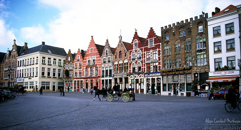 Bruges, Belgium's Grote Markt or Market Square is a UNESCO World Heritage Site.