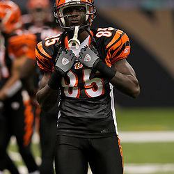 2009 August 14: Cincinnati Bengals wide receiver Chad Ochocinco (85) during a preseason opener between the Cincinnati Bengals and the New Orleans Saints at the Louisiana Superdome in New Orleans, Louisiana.
