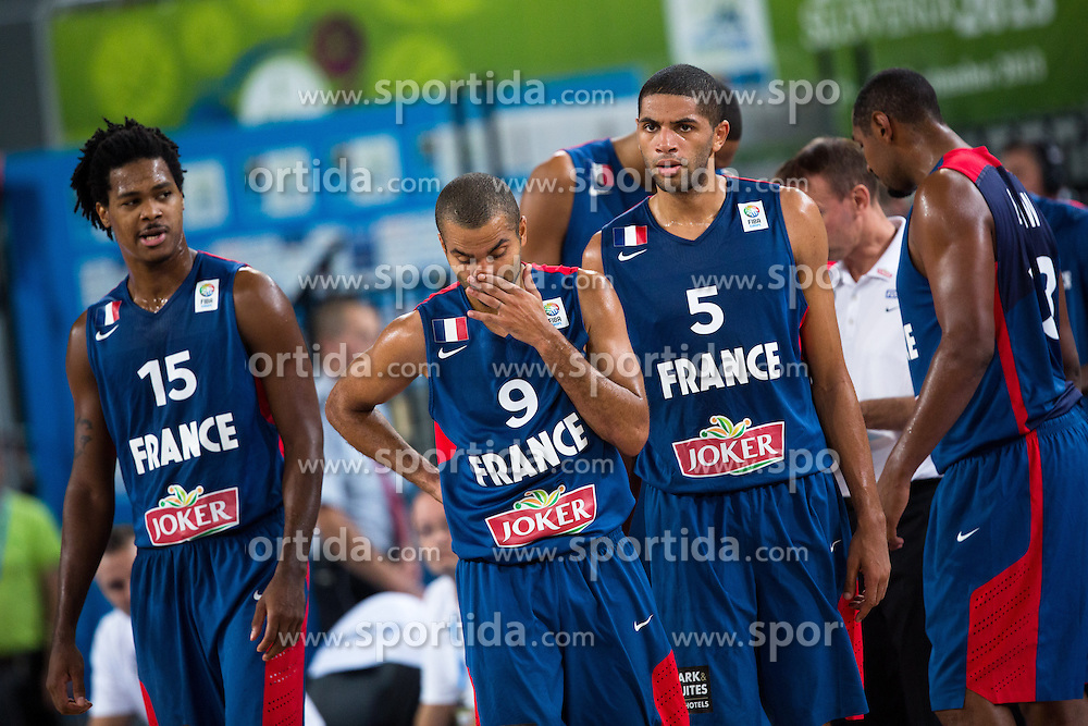 Players of France during quarterfinal basketball match between national team of Slovenia and France at Eurobasket 2013 on September 18, 2013 in SRC Stozice, Ljubljana, Slovenia. (Photo By Matic Klansek Velej / Sportida.com)