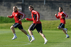 Liverpool, England - Tuesday, October 2, 2007: Liverpool's Andriy Voronin, Fernando Torres and Yossi Benayoun training at Melwood ahead of the UEFA Champions League Group A match against Olympique de Marseille. (Photo by David Rawcliffe/Propaganda)