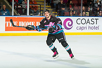 KELOWNA, CANADA - NOVEMBER 3: Lane Zablocki #27 of the Kelowna Rockets skates against the Brandon Wheat Kings  on November 3, 2018 at Prospera Place in Kelowna, British Columbia, Canada.  (Photo by Marissa Baecker/Shoot the Breeze)
