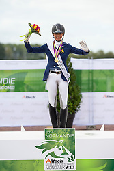 Michel George and FBW Rainman World Champion in the individual test grade IV - Individual Test Grade IV Para Dressage - Alltech FEI World Equestrian Games™ 2014 - Normandy, France.<br /> © Hippo Foto Team - Jon Stroud <br /> 25/06/14