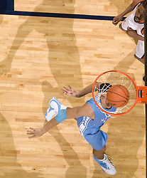 North Carolina guard/forward Danny Green (14) looks at a Virginia basket as it enters the hoop.  The Virginia Cavaliers men's basketball team fell to the #3 ranked North Carolina Tar Heels 75-74 at the John Paul Jones Arena in Charlottesville, VA on February 12, 2008.